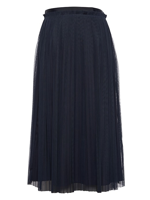 Petite Pleated Tulle Midi Skirt by Banana Repbulic
