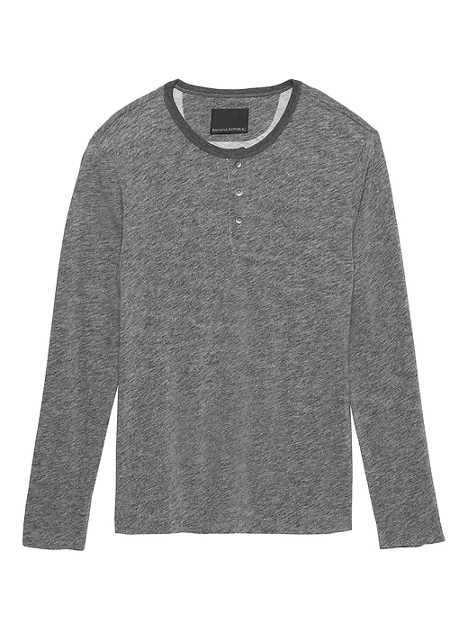 Heritage Long Sleeve Heathered Henley T Shirt by Banana Repbulic