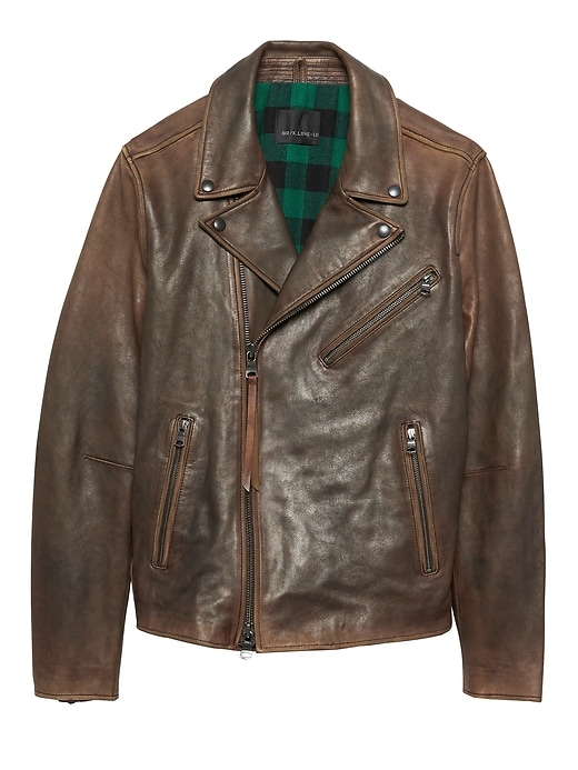 Br X Kevin Love | Slim Leather Biker Jacket by Banana Repbulic