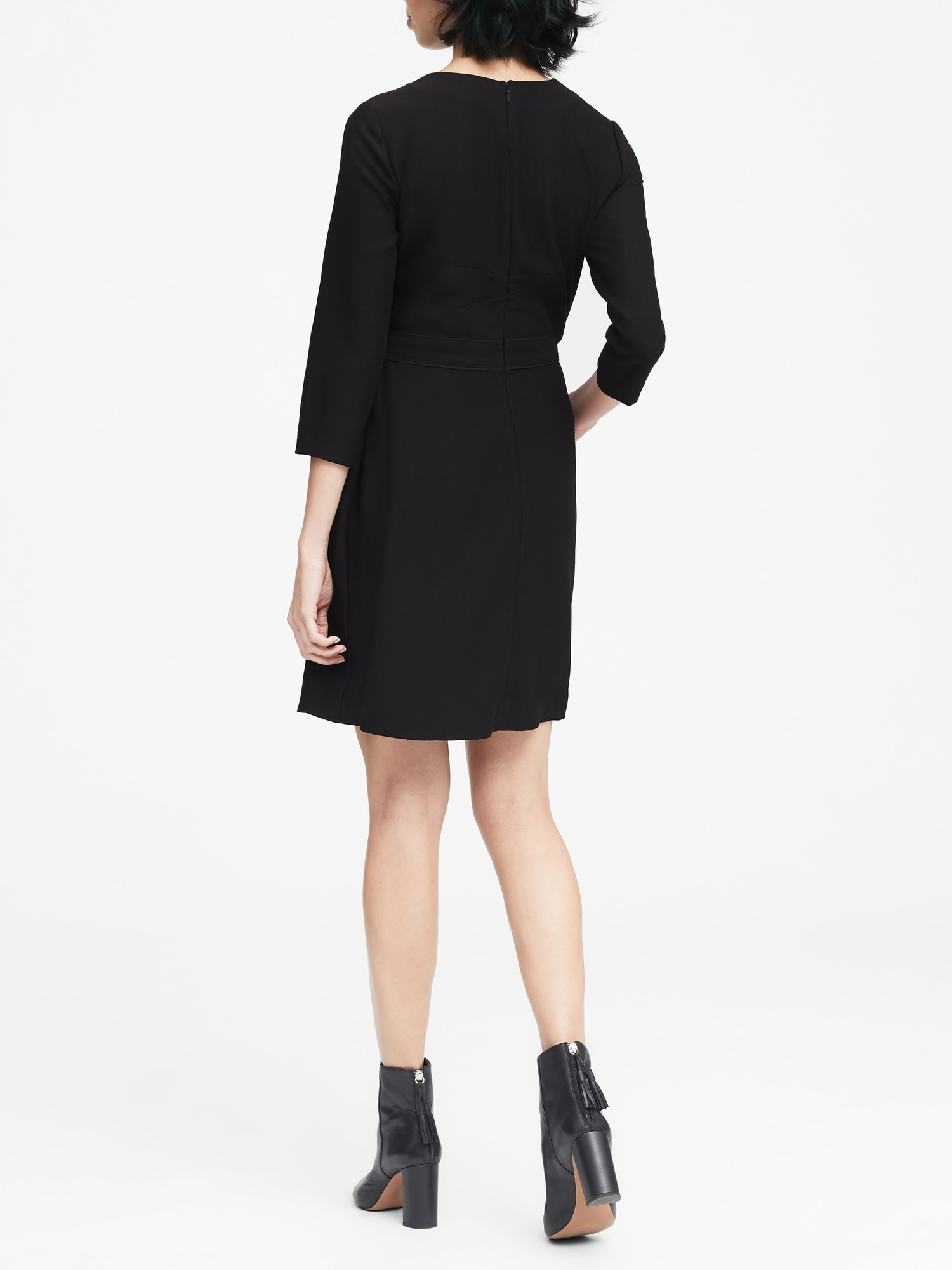 4d614f366f4a Solid V-Neck Fit-and-Flare Dress