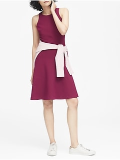 Petite Stretch Racerback Fit-and-Flare Dress