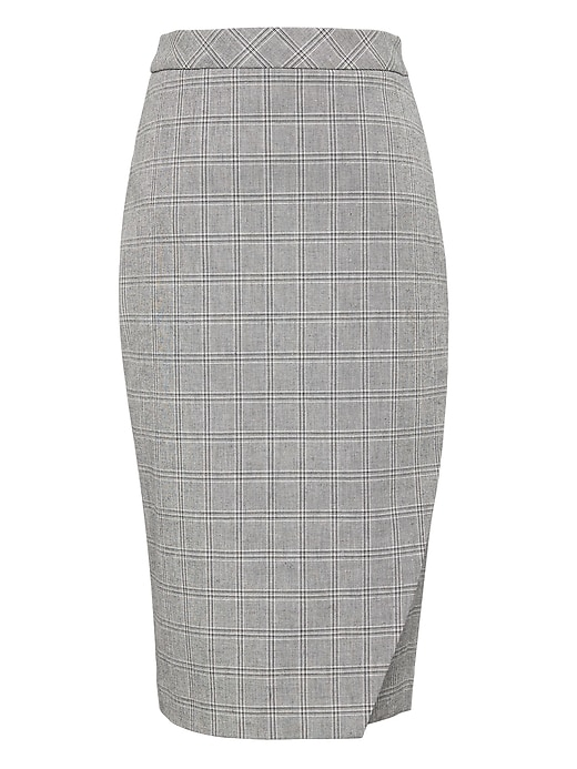 Plaid Bi Stretch Wrap Front Pencil Skirt by Banana Repbulic