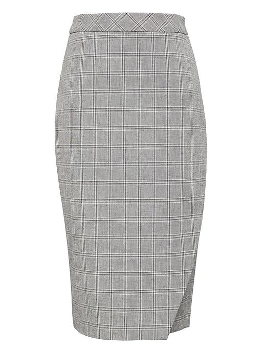 plaid-bi-stretch-wrap-front-pencil-skirt by banana-repbulic