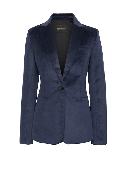 Long And Lean Fit Solid Velvet Blazer by Banana Repbulic