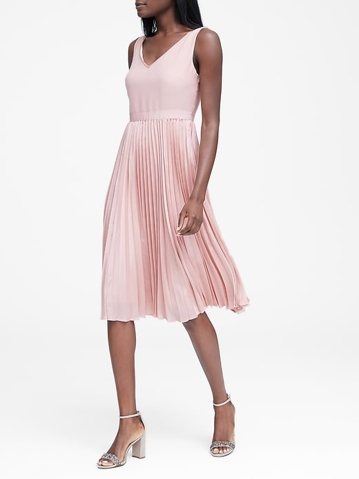 Petite Pleated Fit And Flare Dress by Banana Repbulic