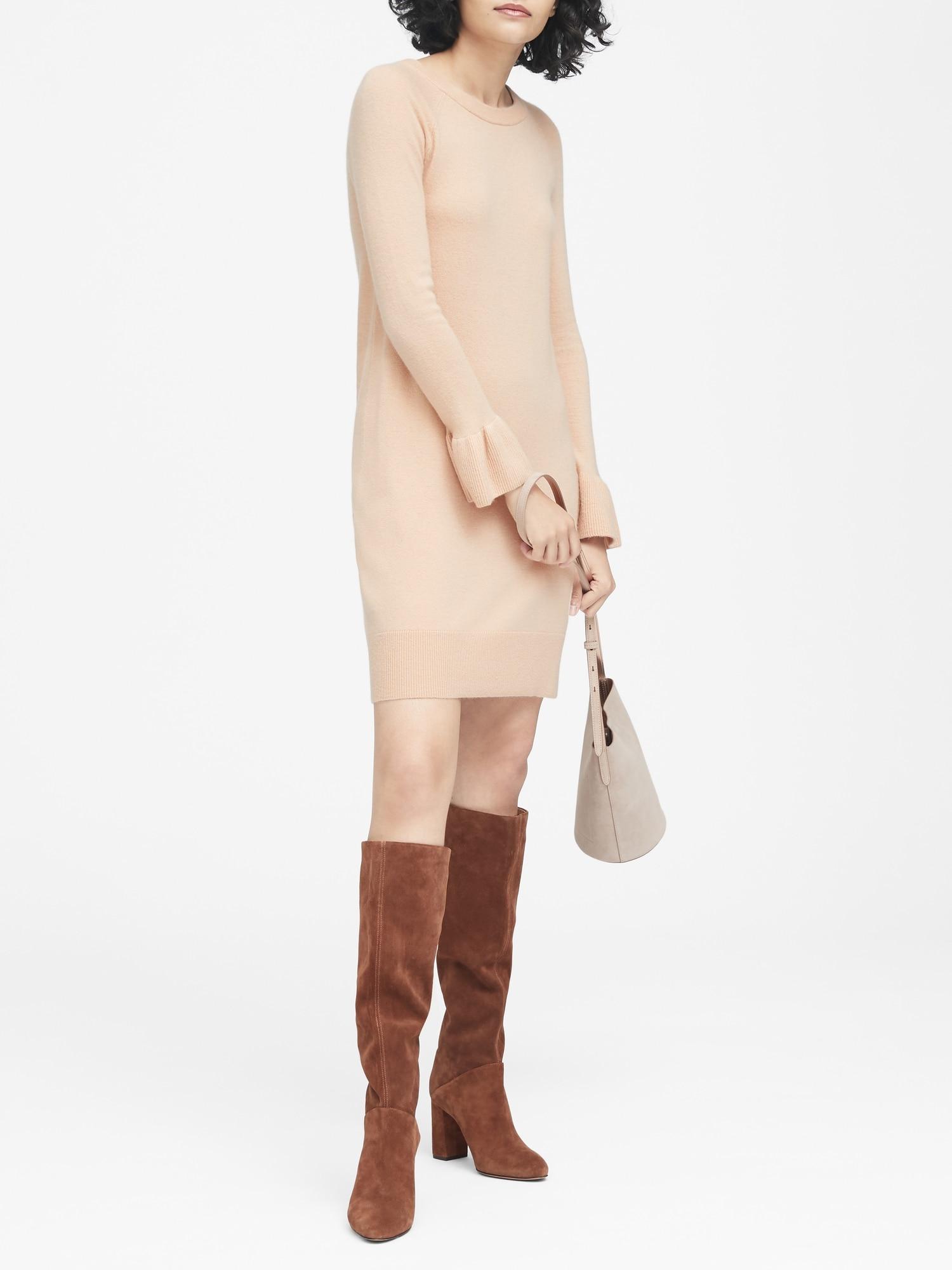 Ruffle-Cuff Sweater Dress  9c1f61495