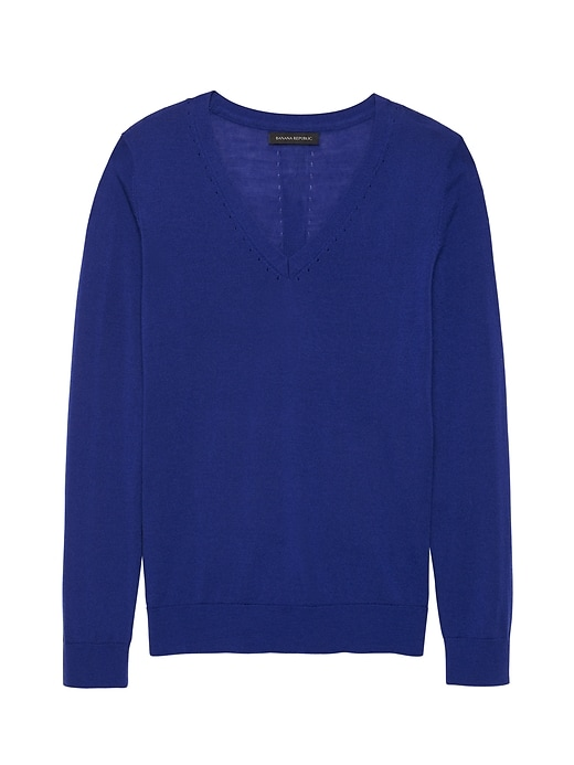 Washable Merino Wool V Neck Sweater by Banana Repbulic