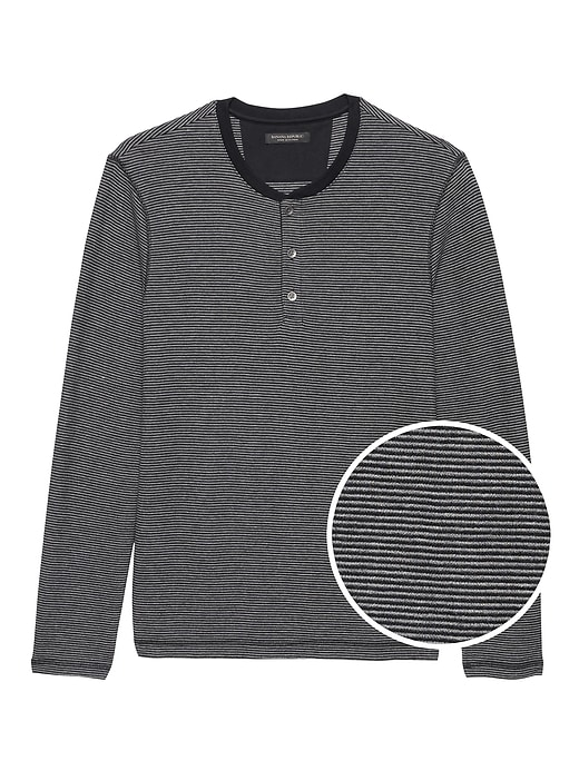 Cotton Modal Waffle Knit Long Sleeve Henley T Shirt by Banana Repbulic