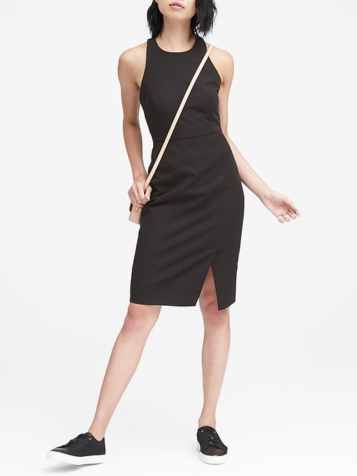 Petite Bi Stretch Racer Neck Sheath Dress by Banana Repbulic