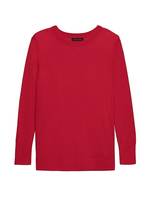 Petite Machine Washable Merino Wool Crew Sweater by Banana Repbulic