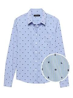 Quinn Straight-Fit Love Stripe Shirt