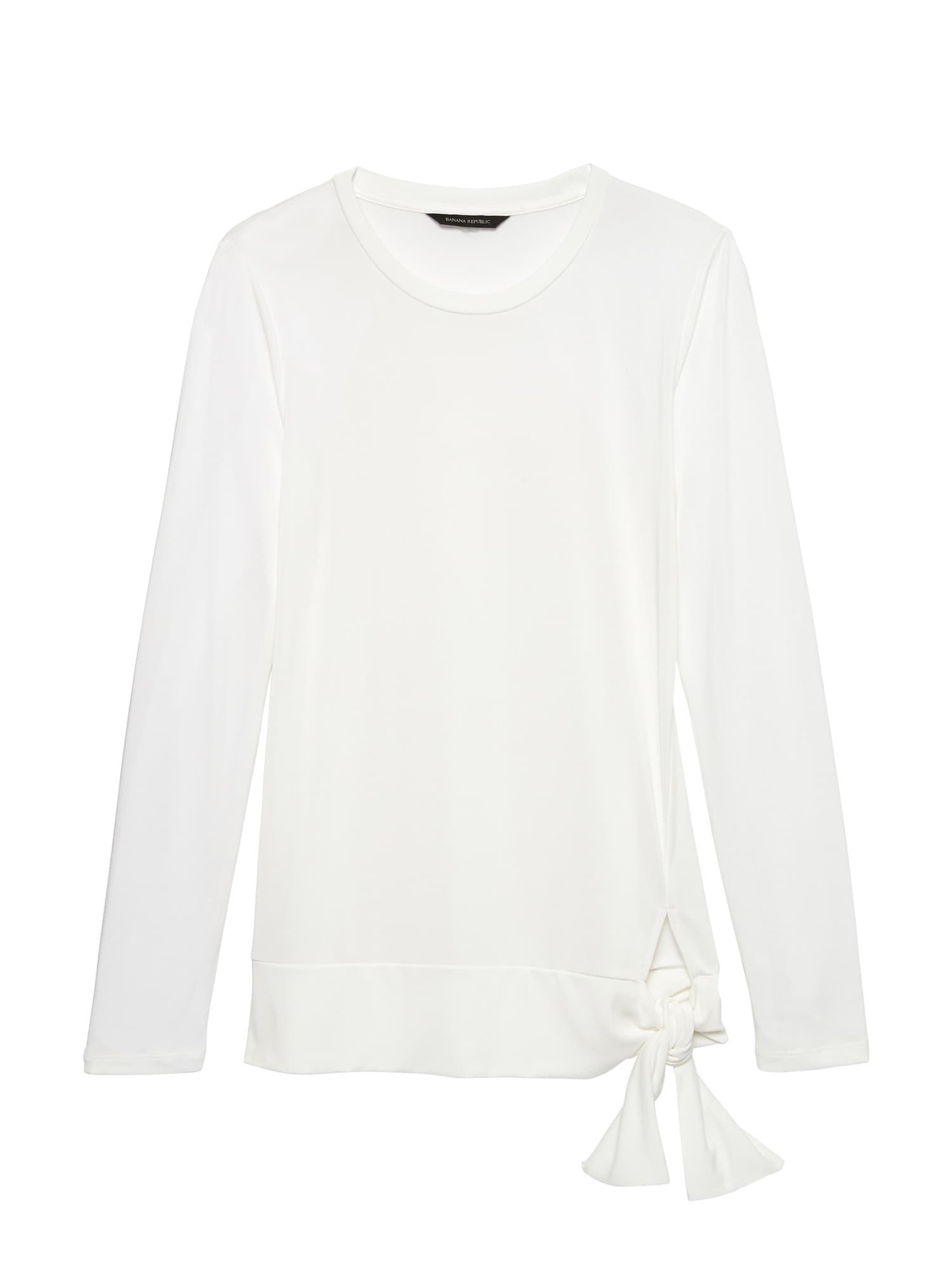 Petite Modal T Republic Sandwash ShirtBanana Tie Hem Blend WIYH29ED