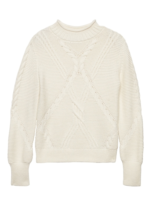 Petite Chunky Mixed Cable Knit Mock Neck Sweater by Banana Repbulic