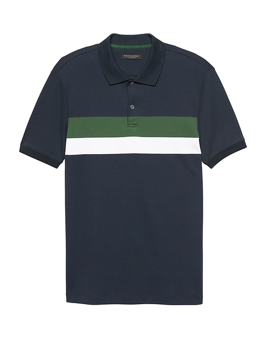 Luxury Touch Chest Stripe Polo by Banana Repbulic