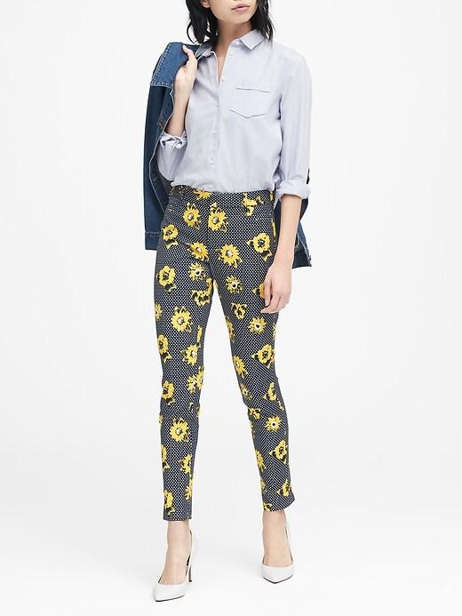 Sloan Skinny Fit Polka Dot Floral Pant by Banana Repbulic