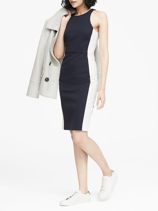 Color Blocked Racer Neck Sheath Dress by Banana Repbulic