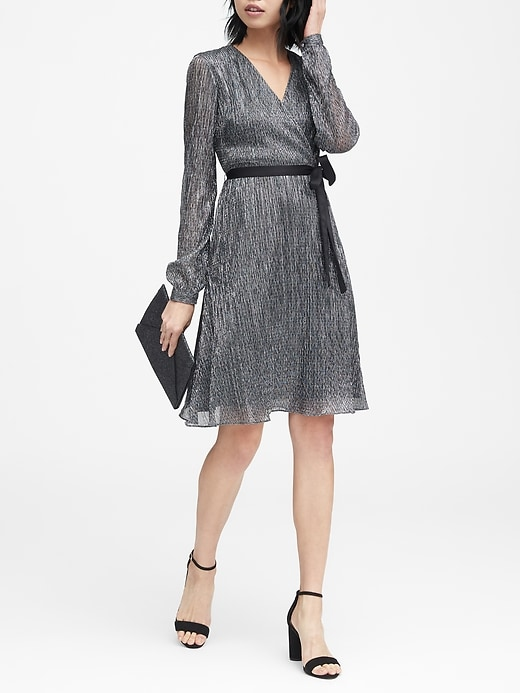 Pleated Metallic Faux Wrap Dress by Banana Repbulic
