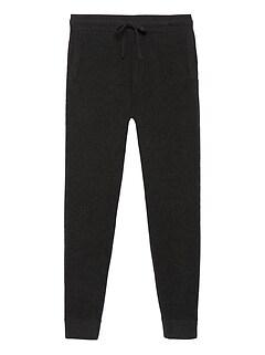 Wool-Cashmere Waffle-Knit Jogger Pant