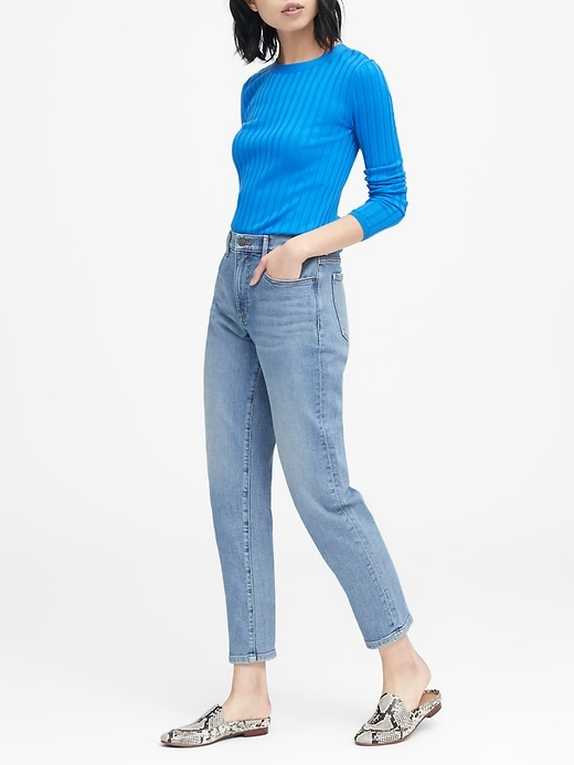 High Rise Straight Fit Light Wash Ankle Jean by Banana Repbulic