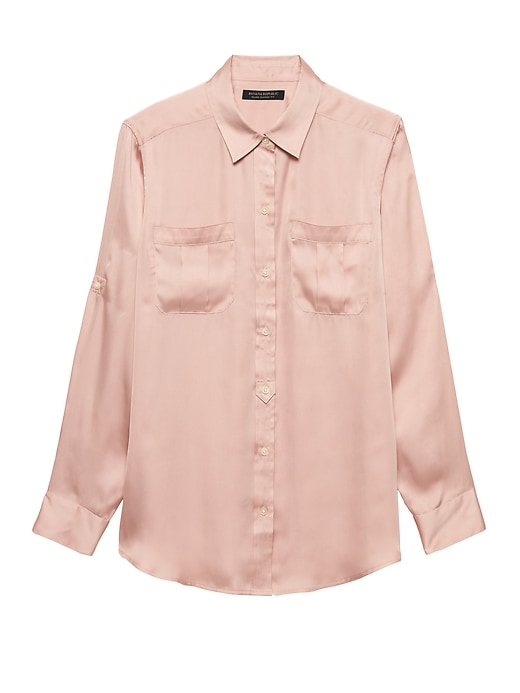 Petite Dillon Classic Fit Soft Satin Utility Shirt by Banana Repbulic