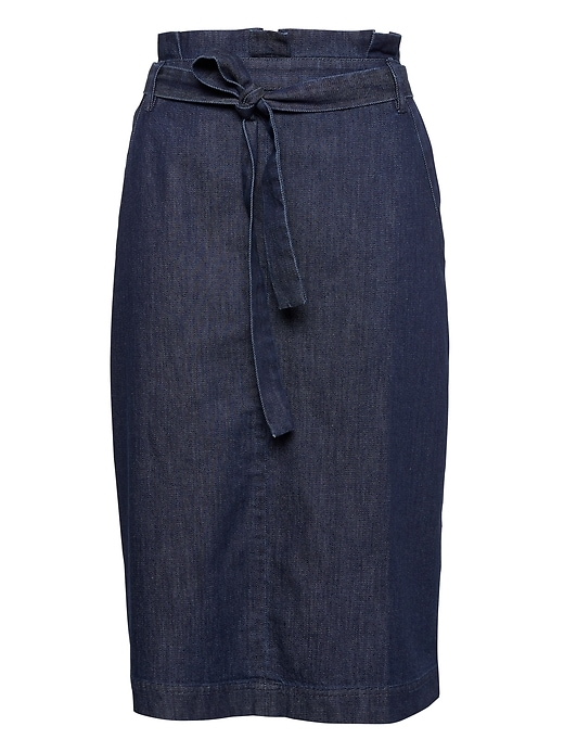 Denim Belted Pencil Skirt by Banana Repbulic