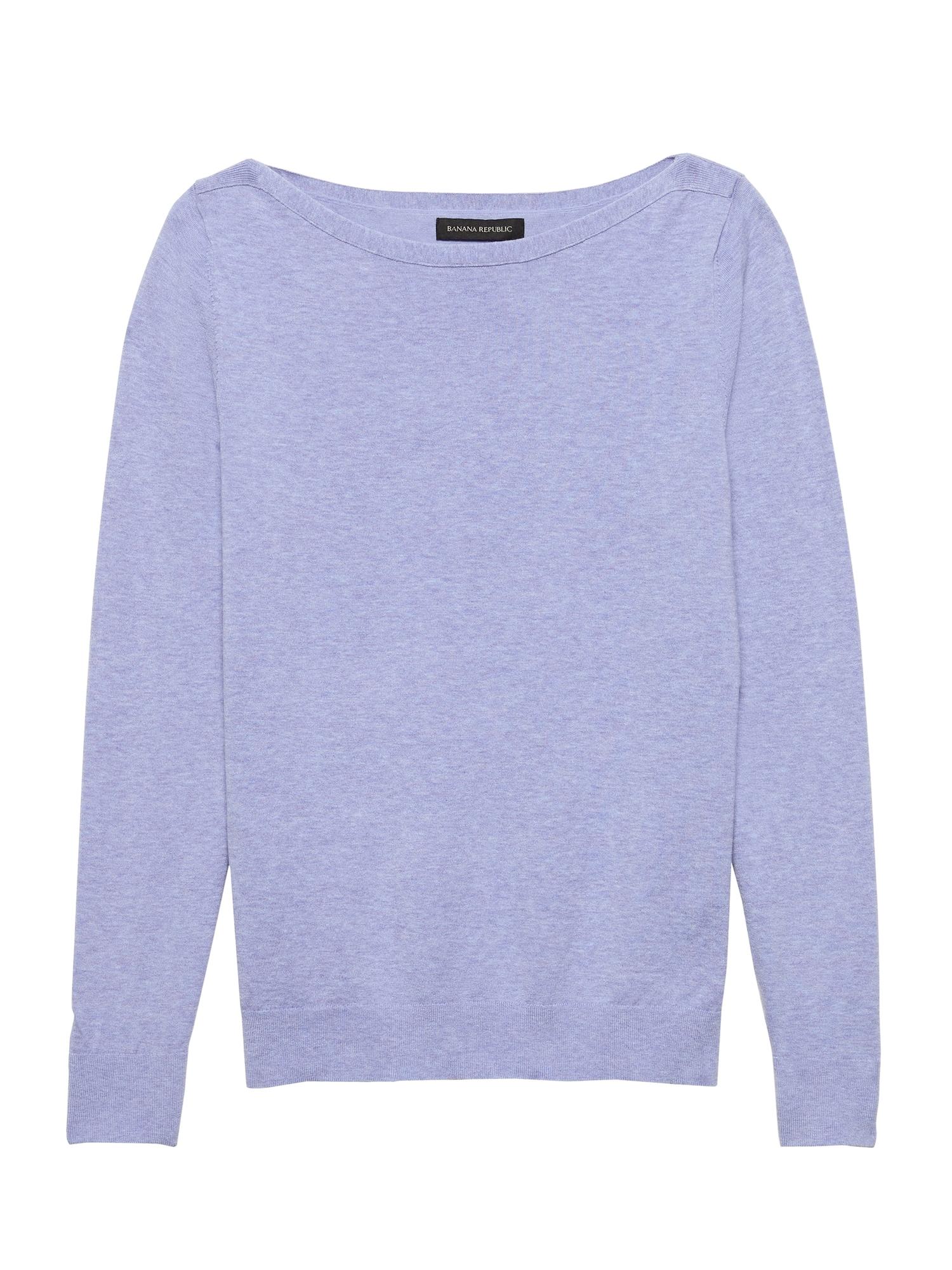 Stretch Cotton Boat-Neck Sweater  04acca51e