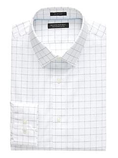 Chemise habillée sans repassage à damiers, coupe cintrée Grant