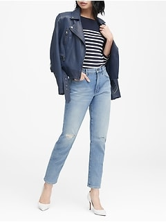 High-Rise Straight Ripped Ankle Jean
