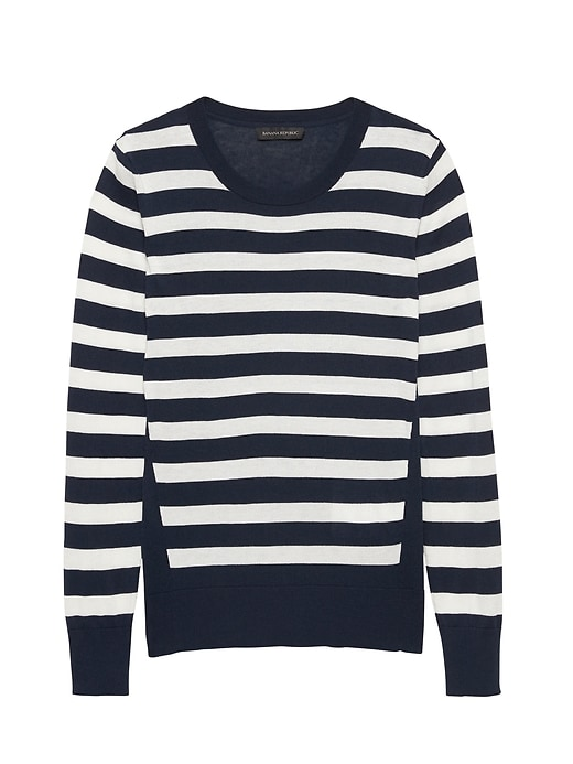 Silk Cotton Stripe Sweater by Banana Repbulic
