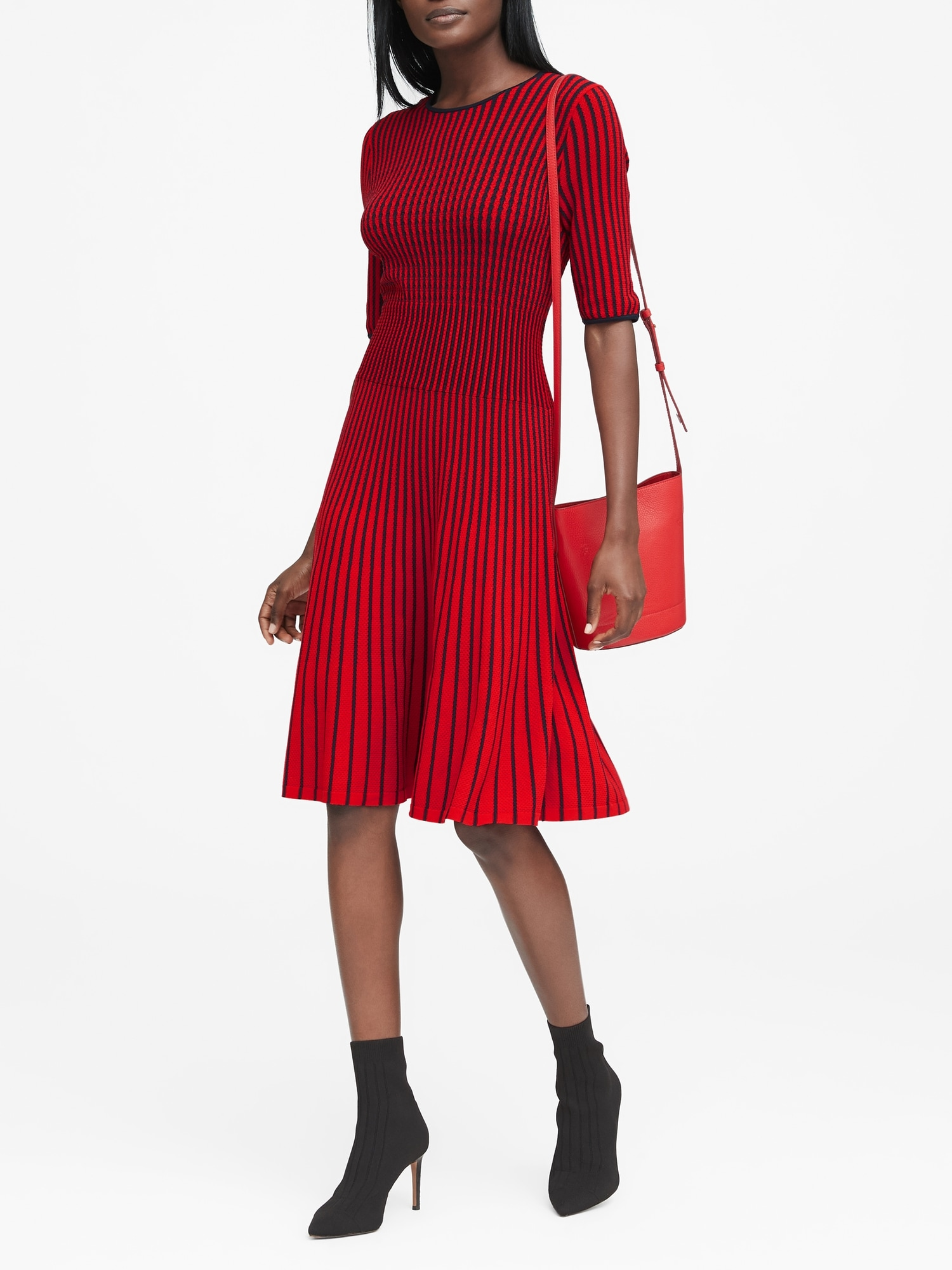 464da29e057 Stripe Fit-and-Flare Sweater Dress