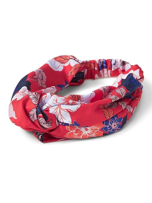 Printed Satin Twist Headband by Banana Repbulic