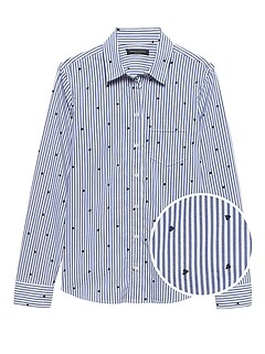 Petite Quinn Straight-Fit Heart Print Shirt