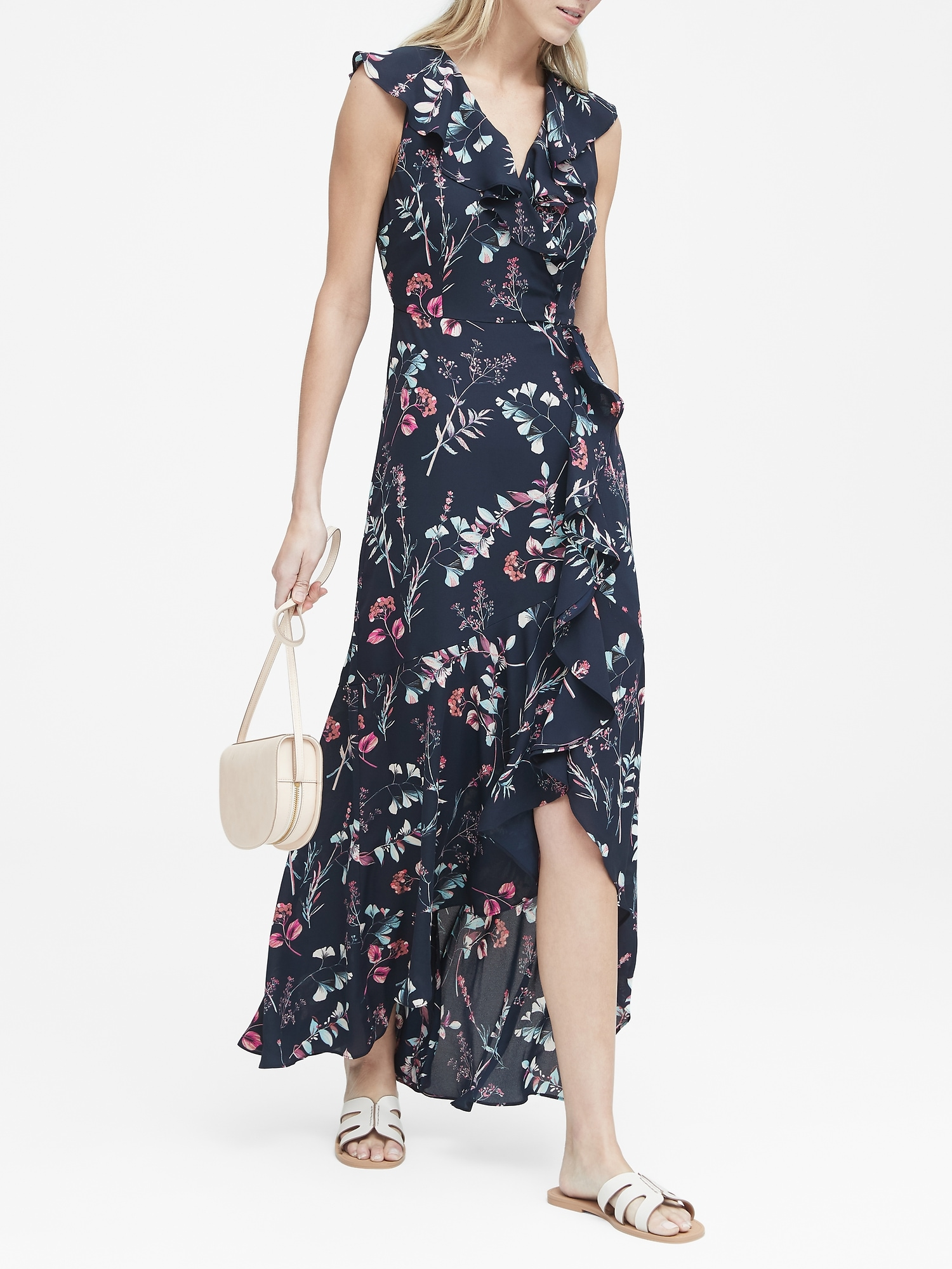 2711c2d59a6 Floral Ruffle-Wrap Maxi Dress