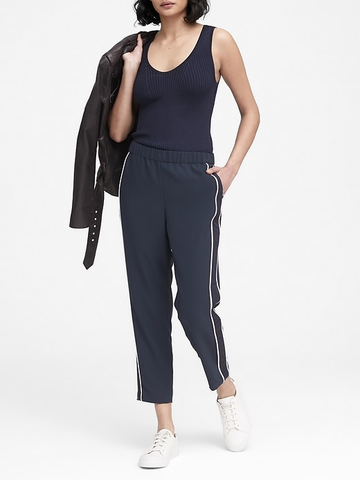 Petite Hayden Tapered Fit Side Stripe Ankle Pant by Banana Repbulic