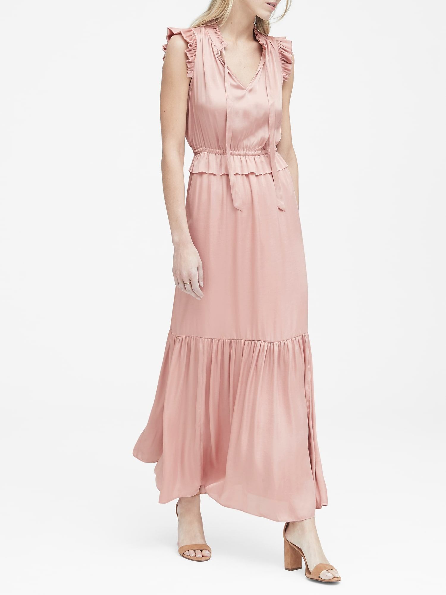 Dept Maxi Jurk.Soft Satin Maxi Dress Banana Republic