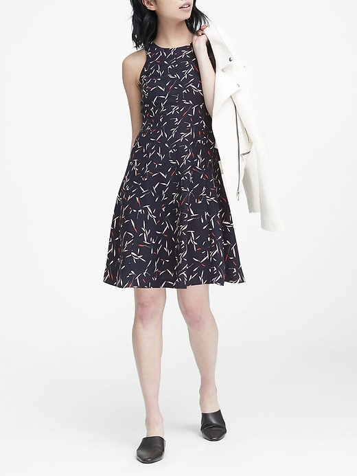 Floral Paneled Fit And Flare Dress by Banana Repbulic