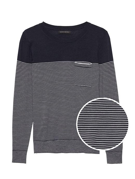Washable Merino Stripe Pocket Sweater by Banana Repbulic
