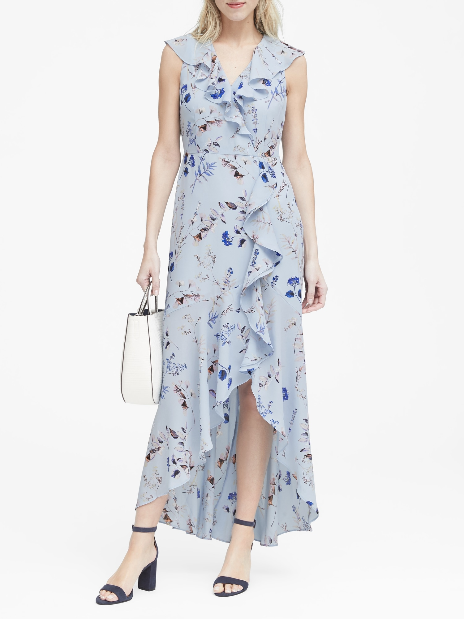 Dept Maxi Jurk.Floral Ruffle Wrap Maxi Dress Banana Republic
