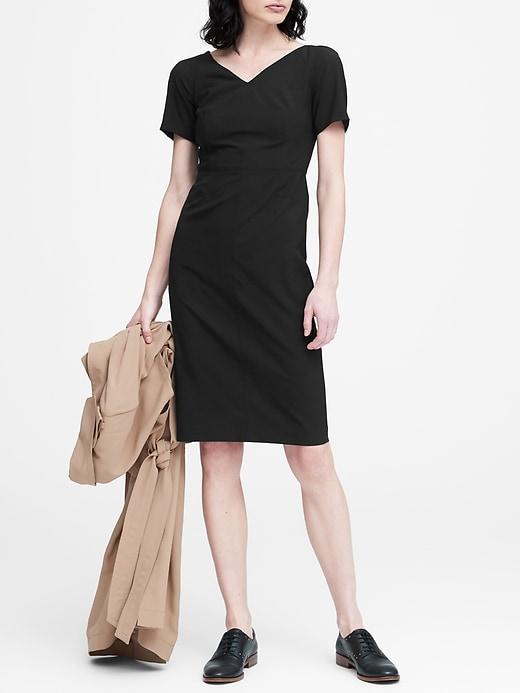 Lightweight Wool V Back Dress by Banana Repbulic