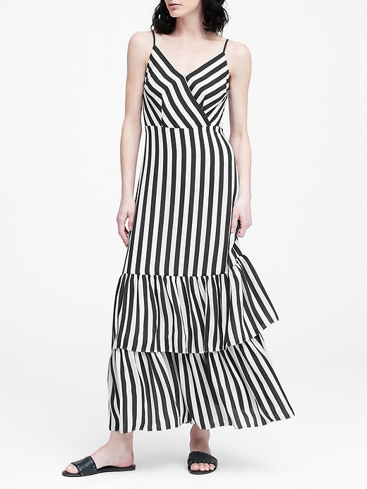 Stripe Tiered Maxi Dress by Banana Repbulic