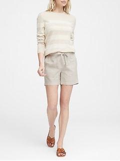 Short à enfiler en lin et en coton, entrejambe de 10cm