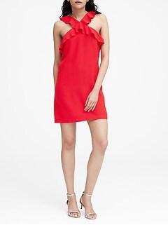 Petite Ruffle Halter Dress