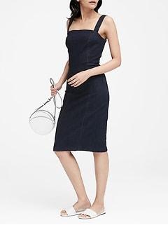 Petite Square-Neck Denim Sheath Dress