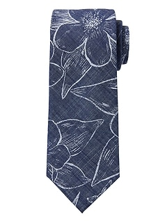 Tropical Floral Chambray Tie