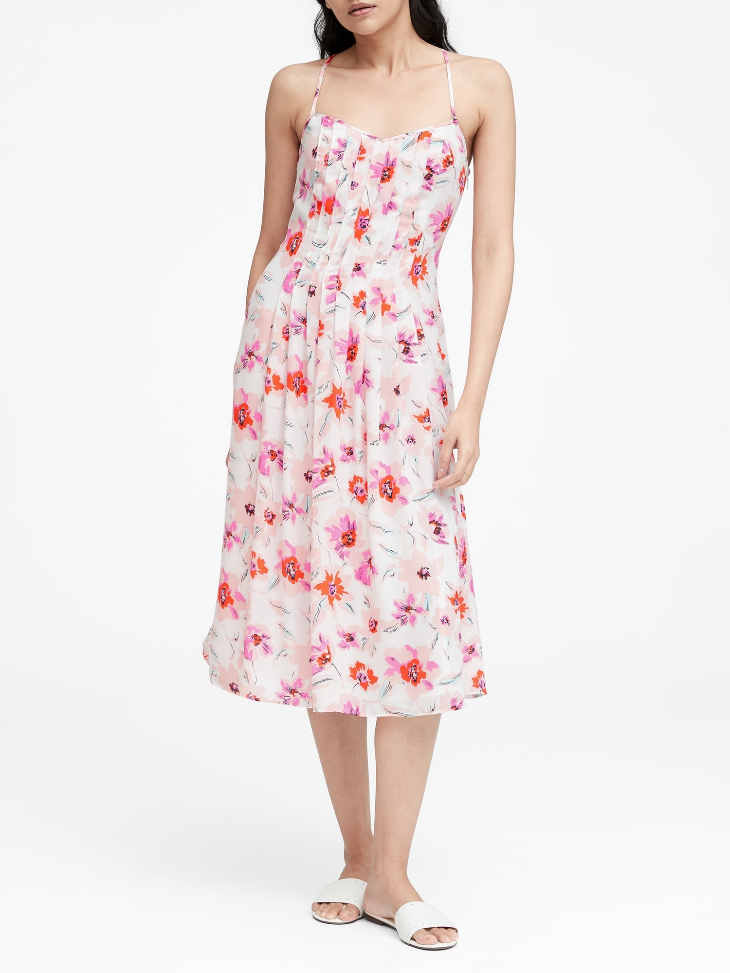 82734495f6df1 Petite Floral Pin-Tuck Midi Dress