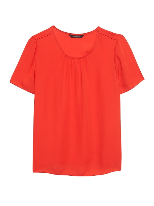 Petite Piped Crew-Neck Blouse