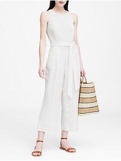 Linen-Blend Cropped Jumpsuit
