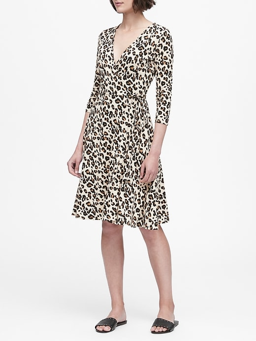 Leopard Soft Ponte Wrap Dress by Banana Repbulic