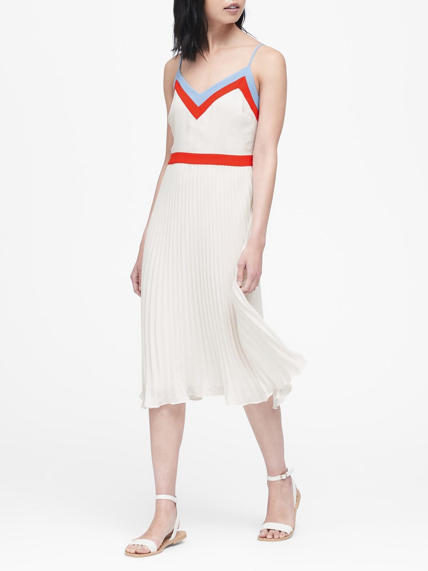 6b63cf577 Color-Block Pleated Midi Dress | Banana Republic