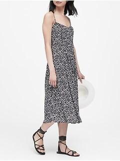 Print Pin-Tuck Midi Dress